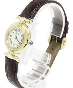 Cartier CARTIER Vermeil 925 Gold Plated Leather Quartz Ladies Watch 590002
