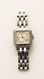 Cartier Cartier Mens Unisex Panthere 1300 Stainless Steel Silver Square Wristwatch Watch