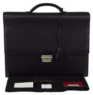 Cartier Cowhide Leather Pasha Black Travel Bag