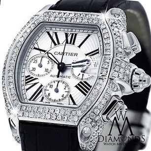 Cartier Diamond Cartier Roadster Chronograph With White Dial On Alligator Strap