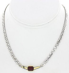 Cartier Ladies Cartier Silver And Yellow Gold Garnet Necklace