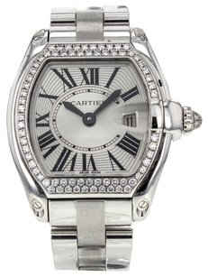 Cartier Ladies Roadster WE5002X2 18K White Gold Watch with Factory Diamond Bezel CRTLRW2