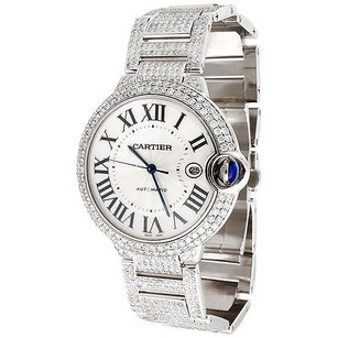 Cartier Mens Ballon Bleu De Cartier Fully Loaded Diamond 14.5 Ct 39mm Watch