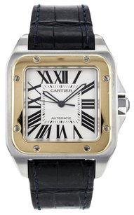 Cartier Large Santos 100 W20072X7 Stainless Steel Watch with 18K Yellow Gold Bezel CRTSS35