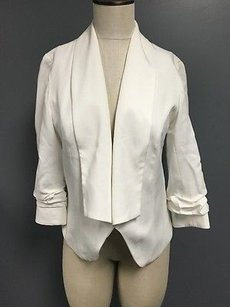 Cartonnier Cartonnier White Collared Ruched Sleeve Cropped Open Front Blazer Sm2021