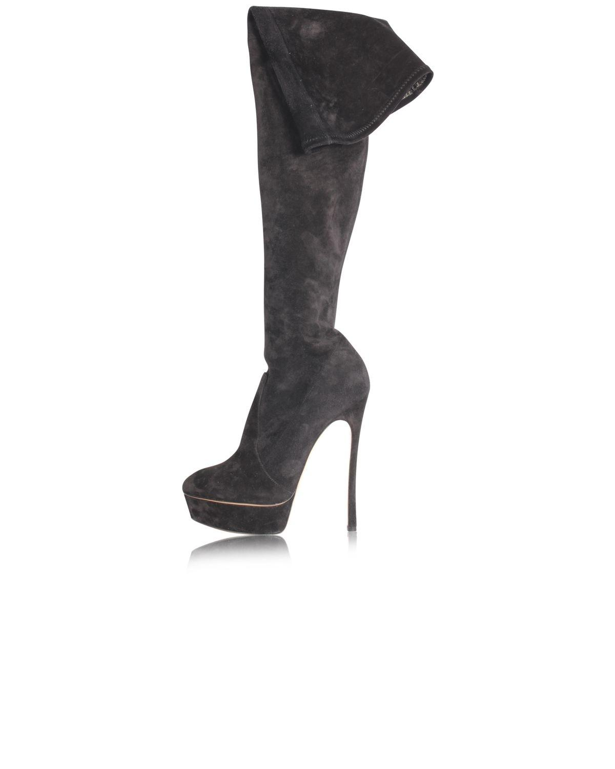 Casadei Black Suede Thigh High Boots/Booties Size EU 38 (Approx. US 8) Regular (M, B)