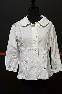 Caslon Sleeves Button Front Back Tie Short 18109 White Jacket
