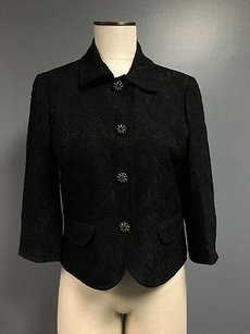 Caslon Caslon Black Floral Button Collared Three Quarter Sleeve Blazer Sma2493