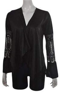 Casting Womens Black Cardigan Open Front Textured Long Sleeve Sweater