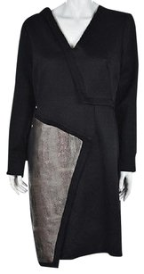 Catherine Malandrino Womens Black Knee Length Metallic Sheath Dress