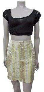 Catherine Malandrino Striped Pencil With Pockets Beige Yellow Gray Skirt Multi-Color