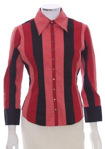 Catherine Malandrino Stretchy Cotton Nylon Spandex Button Down Shirt Multi