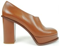 Céline Leather Round Toe Chunky Heel Pumps Eu Caramel Platforms