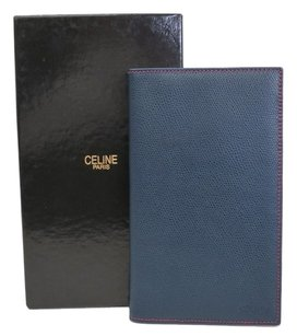 Céline CELINE Agenda Cover Notebook Cover Leather Navy/Pink