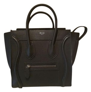 Céline Luggage Leather Satchel in Black