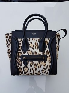 Céline Celine Mini Shopper Satchel in Black/leopard