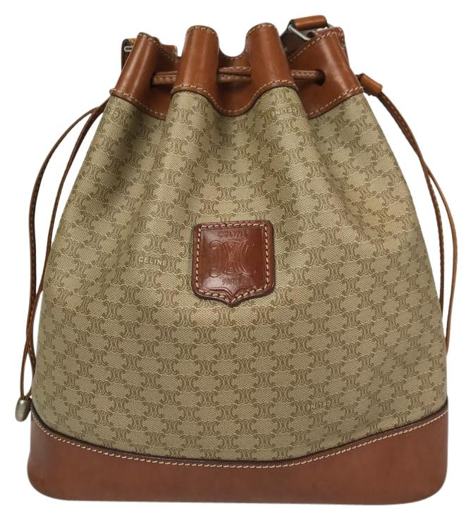 Well known Céline Macadam Monogram Drawstring Tan Coated Canvas/Leather  HB23