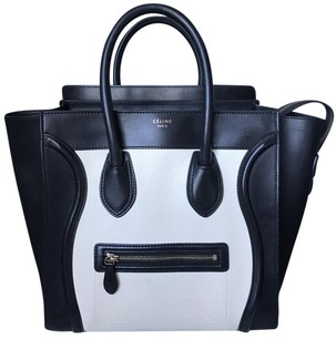 Céline Mini Mini Luggage Tote in Bicolor white black Celine