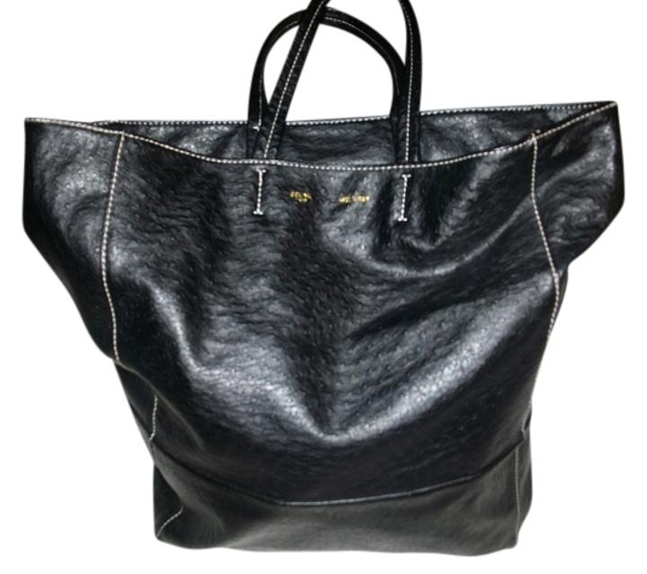 celine trio bag price - C  line Ostrich Skin Black Tote Bag  73acc1682cef5