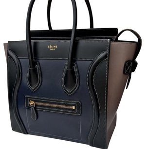 Cline Satchel in black, blue, brown