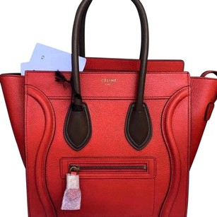 Céline Satchel in Red And Brown