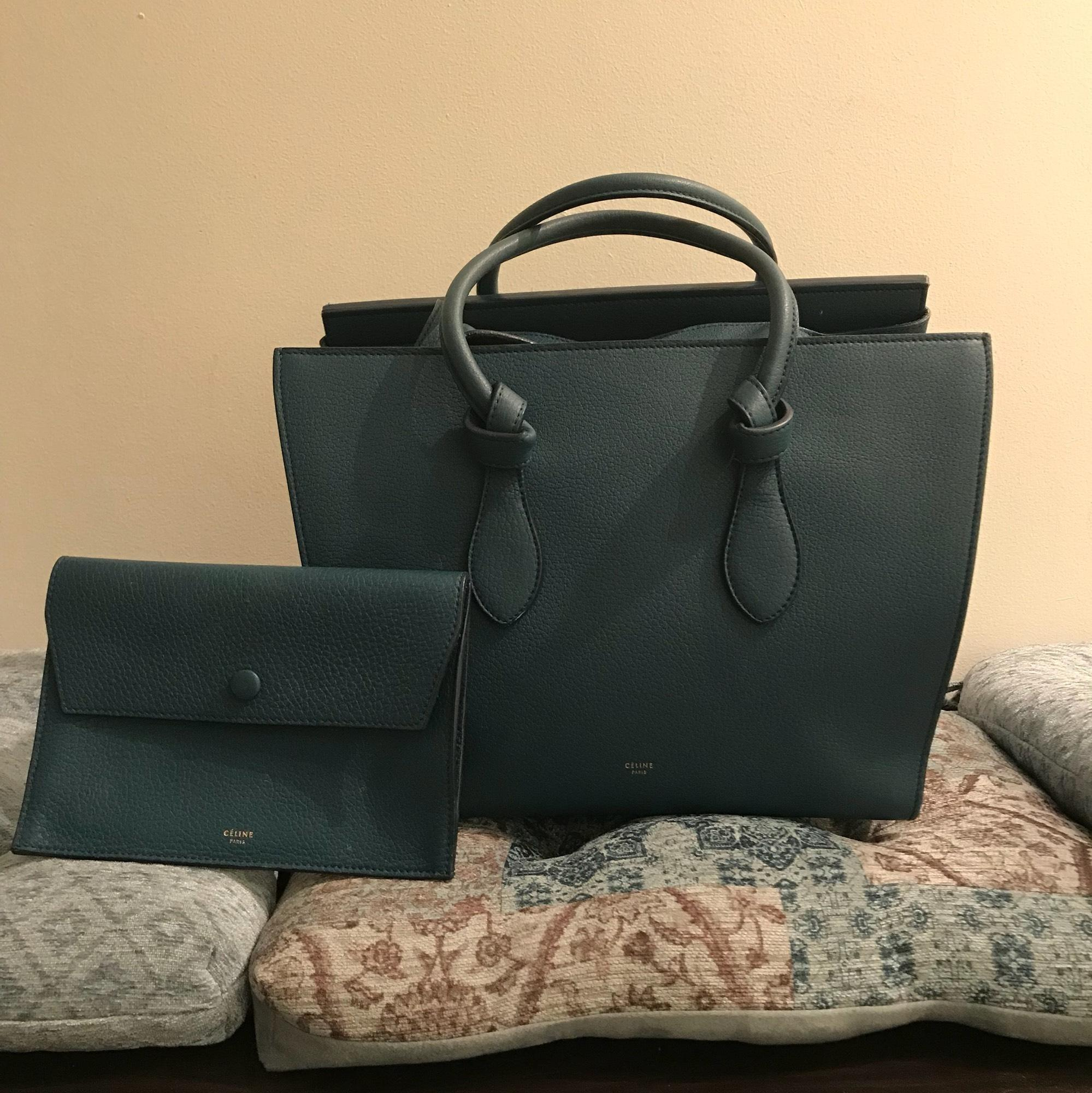 1bc1ae0fd0a0 Céline tie knot grained leather denim color tote tradesy jpg 959x960 Celine  tie handbag
