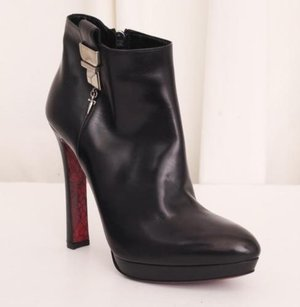 Cesare Paciotti Womens Leather High Heel Zip Ankle Black Boots