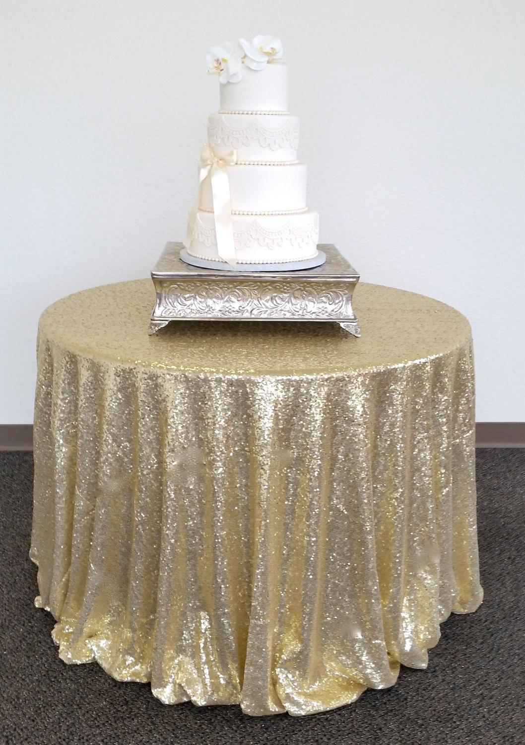 Champagne Gold 90 Inch Round Sequin Tablecloth