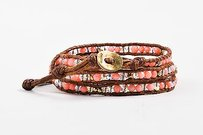 Chan Luu Chan Luu Brown Pink Leather Gold Plated Sterling Silver Stone Bead Wrap Bracelet