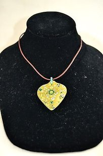 Chan Luu Chan Luu Green Embellished Hand Painted Teardrop Brown Leather String Necklace