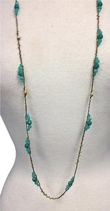 Chan Luu Chan Luu Turquoise Faceted Bead Gold Tone Micro Bead Hand Tied Necklace B2134