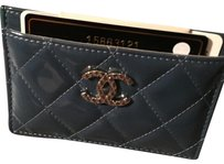 Chanel 100% Authentic Chanel Classic Patent Blue Quilted Card Holder/Case