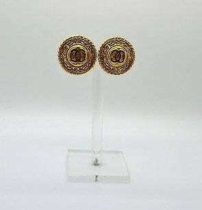 Chanel 100 Vintage Chanel Gold Cc Logo Clip On Earrings