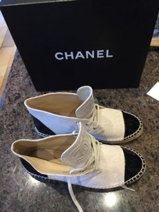 Chanel 15c Crackle Black Espadrille High Top Sneakers Flat Beige Boots