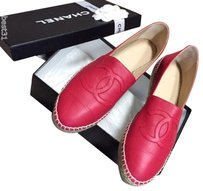 Chanel Lambskin Leather Red Flats