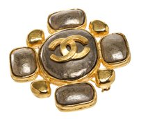 Chanel Chanel Gold Cc Vintage Two Tone Brooch 97a