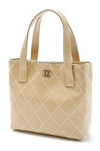 Chanel Biege Quilted Leather Tote in Beige