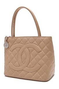Chanel Quilted Caviar Leather Medallion Tote in Beige