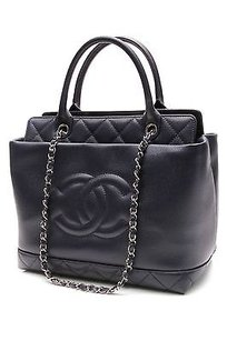 Chanel Caviar Tote in Navy blue
