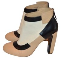 Chanel Tone Black White Beige Colorblock Leather Ankle Multi-Color Boots