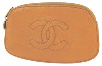 Chanel Auth CHANEL CC Logos Coin Purse Yellow Caviar Skin Leather Vintage Italy LP10083