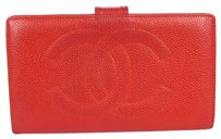 Chanel Auth CHANEL CC Logos Long Bifold Wallet Purse Caviar Skin Leather Red 60H059