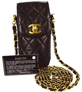Chanel Auth CHANEL CC Logos Quilted Chain Cell Phone Case Shoulder Bag Leather 86C444
