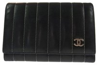 Chanel Auth CHANEL Quilted CC Logos Bifold Wallet Black Leather Vintage France LP03181