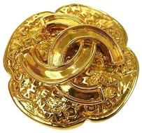 Chanel Auth CHANEL Vintage CC Logos Brooch Pin Gold-Tone Corsage 95A France NR01551