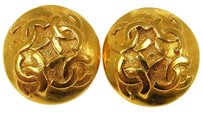 Chanel Auth CHANEL Vintage CC Logos Button Earrings Gold-Tone Clip-On France LP12393