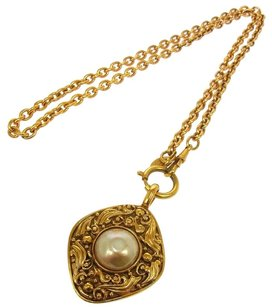 Chanel AUTH CHANEL VINTAGE CC LOGOS GOLD CHAIN IMITATION PEARL NECKLACE FRANCE K03998