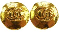 Chanel AUTH CHANEL VINTAGE CC LOGOS GOLD TONE BUTTON EARRINGS CLIP-ON FRANCE JT00629
