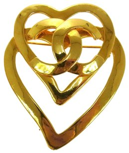 Chanel Auth CHANEL Vintage CC Logos Heart Motif Brooch Pin Gold-Tone 95P France LP01572