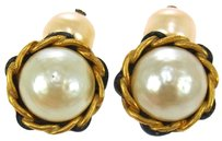 Chanel Auth CHANEL Vintage CC Logos Imitation Pearl Cuff Links Button France LP10934